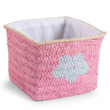 Cos de jucarii impletit 30x33x33cm Pink Star Cloud