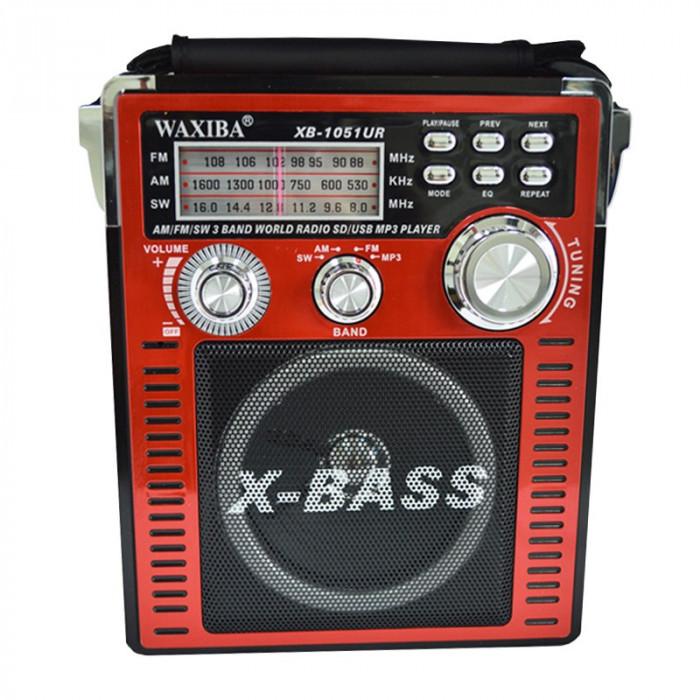 Radio MP3 portabil Waxiba XB-1051 UR, 3 benzi, Rosu