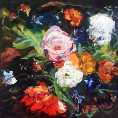 Oana Asavei - Flori , acril pe pinza 50 x 50 cm, Ulei, Altul