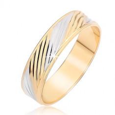 Inel bandă cu caneluri diagonale aurii și argintii - Marime inel: 48