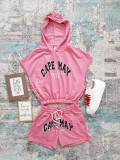 Compleu dama din bumbac roz compus din pantaloni scurti si hanorac scurt Capemay
