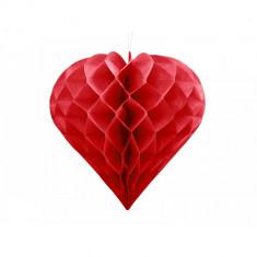 Ornament suspendat din hârtie Honeycomb inima, Rosu, 30cm