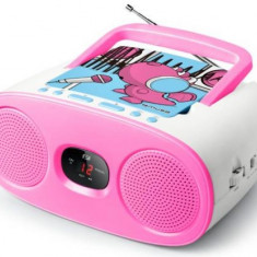 Micro Sistem Audio Portabil Muse M-20 KDG, CD-Player, LED Display, AUX-in (Roz)