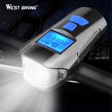 Cumpara ieftin Far lanternă cu sunet si lumină frontală pt bicicletă cu vitozometru LCD