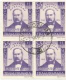 România, LP 149/1942, Andrei Mureşanu, bloc de 4 timbre, obliterat