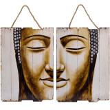 Set doua tablouri din lemn cu Budha SK-30, Portrete, Acrilic, Avangardism