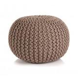 Puf tricotat manual, bumbac, 50 x 35 cm, maro
