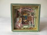 Cutie muzicala vintage Sankyo Japan Anny Wood Music Box C-904 cu iepurasi