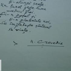 Manuscris/ E fata - aevea? - poem scris si semnat de Nicolae Crevedia