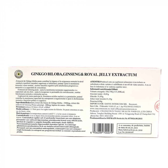 Ginkgo Biloba Ginseng & Royal Jelly, 10 fiole, Sanye Intercom