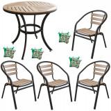 Set terasa masa rotunda POLYWOOD NATURAL 80x72cm cu 4 scaune 77x40x37cm , 4 perne scaun B003028-95314-95312 Raki