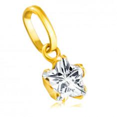 Pandantiv aur galben 375 - stea din zirconiu în cinci puncte