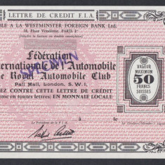 A4823 Anglia UK Bon 50 francs SPECIMEN