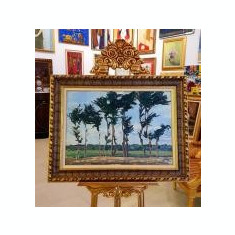 """TABLOU, Rodica Maniu Mützner (1892 – 1958), """"Copaci"""", u/c, 47,5 x 67,5 cm, Peisaje, Ulei, Realism"""