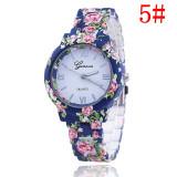 Ceas Casual Elegant Dama GENEVA Model Floral Superb 7 Nuante DESIGN FLORAL, Fashion, Quartz, Inox