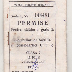 bnk  div CFR - Permise pentru calatorie gratuita - cls 2 - 1978