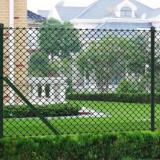 VidaXL Gard legătură plasă, stâlpi, verde, 1,25x15 m, oțel galvanizat