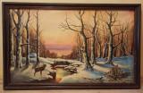 Tablou vechi in ulei, peisaj (106cm x 66 cm ). Rama + sticla., Peisaje, Realism