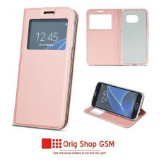 Husa flip carte smart look iphone 6/6s plus (5,5inch ) rose gold