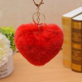 Breloc pompon puf heart