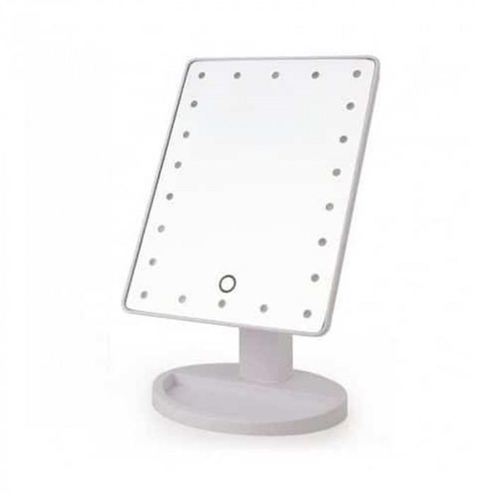 Oglinda make-up cu LED, 17 x 27 x 12 cm, ABS, buton tactil, Alb