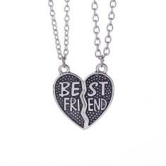 Pandantiv Medalion Lantisor - BFF BEST Friend FRIENDS Forever Inima medbff093