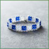 Bratara Swarovski Handmade in Majestic Blue & White Opal