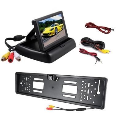"Kit 2 in 1, suport numar inmatriculare cu camera marsarier si monitor 4.3"" pliabil foto"