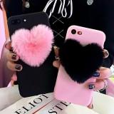 Carcasa de Telefon 3D Super Draguta Ghemotoc de Blana Inima Iubire, pentru Iphone6 6s 7 8 Plus 10 X Roz/Negru
