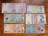 Romania - Lot nr. 2 : Bancnote de la 500 lei 1992 la 10000 lei 2000 (2001)