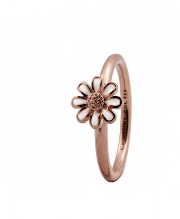 Inel Marguerite, Argint placat cu aur roze 18k, Email, Masura 49
