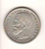 SV * Romania  1 LEU 1906 * ARGINT .835 * REGELE CAROL I * JUBILEU 40 ANI * 1866