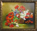 Tablou / Pictura flori semnat Cimpoesu