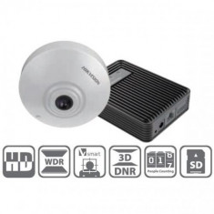 Camera IP Fisheye 1MP, Interior, POE, Slot Card, People Counting - HikVision IDS-2CD6412FWD/C