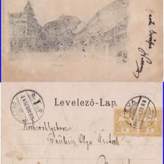 Deva - Vedere-Cetatea- clasica,stilizata, rara, Circulata, Printata