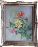 Tablou cu dalii, semnat Bergfried, pictură pe pânză, Flori, Ulei, Impresionism