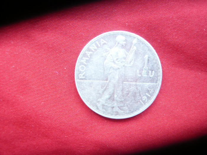 Moneda 1 leu 1914 Carol I argint , cal. F.Buna