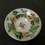 15. Farfurie veche din ceramica pentru agatat pe perete blid vechi lut 22,5 cm