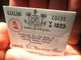 Insulele Cocos Keeling 1/4 Rupie 1902 bancnota autentica NECIRCULATA (nu copie)