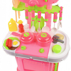 Set Bucatarie de jucarie, troler cu mancare, ustensile, recipiente, sunete si lumini pentru copii - LY638