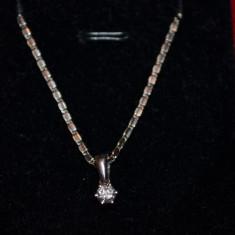 PANDANTIV AUR alb 18K + Diamant 0.20ct - VS1 - VS2 - F - G - Deosebit !