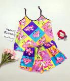 Pijama dama ieftina primavara-vara roz din satin lucios cu imprimeu PP