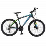 Cumpara ieftin Bicicleta MTB-HT CARPAT C2681H, roti 26inch, cadru aluminiu 17.5inch, frane hidraulice disc, 21 viteze, transmisie Shimano (Negru/Albastru)
