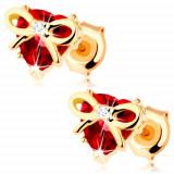 Cumpara ieftin Cercei din aur 585 - inimă rubin roșu prinsă cu fundă îngustă