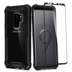 Husa Premium Originala Spigen 360 Grade Hybrid Samsung Galaxy S9+ Plus Cu Folie Sticla Curbata Inclusa Negru