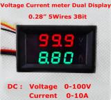 Voltmetru si Ampermetru digital 100 V 10 A rosu - verde - shunt ( sunt ) inclus