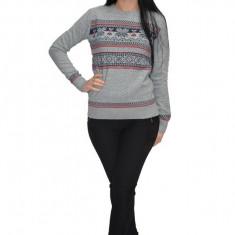 Bluza tricotata cu motive de Craciun,nuanta de gri