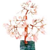 Copacei cuart roz 68 cristale, pentru noroc in dragoste si casatorie, copac decorativ cu soclu din piatra semipretioasa