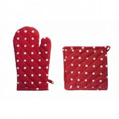 Set bucatarie 2 piese model polka dots compus din manusa