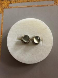 CERCEI  ARGINT CU Piatra Lunii - MODEL PE URECHE CU SURUB